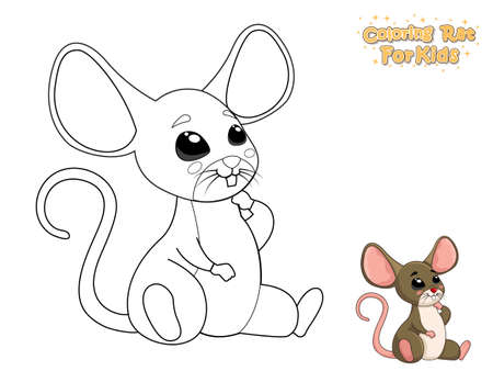 Coloring The Cute Cartoon Rat. Educational Game for Kids. Vector Illustration With Cartoon Animal Characters