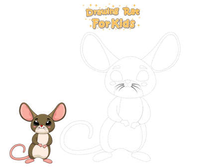 Drawing and Paint Cute Cartoon Rat. Educational Game for Kids. Vector Illustration With Cartoon Animal Characters