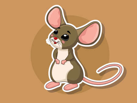 Cute Cartoon Rat Sticker. Vector art illustration with happy animal cartoon characters