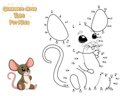 Connect The Dots and Draw Cute Cartoon Rat. Educational Game for Kids. Vector Illustration With Cartoon Animal Characters Ilustração