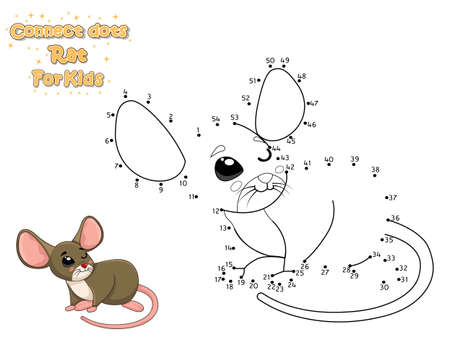 Connect The Dots and Draw Cute Cartoon Rat. Educational Game for Kids. Vector Illustration With Cartoon Animal Characters Иллюстрация