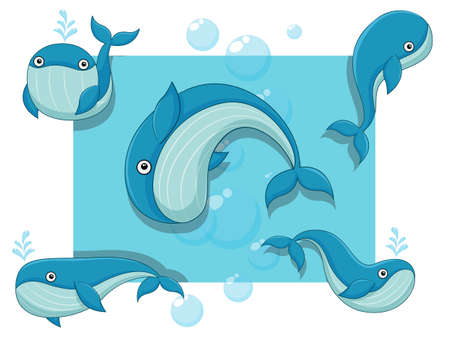 Cute Whales Cartoon Characters Set. Vector illustration With Cartoon Happy Animal