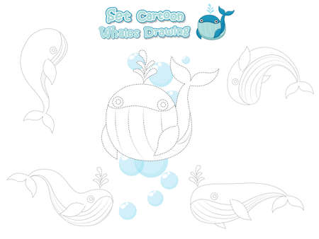 Drawing and Paint Cute Whales Cartoon Set. Educational Game for Kids. Vector illustration With Cartoon Happy Animal