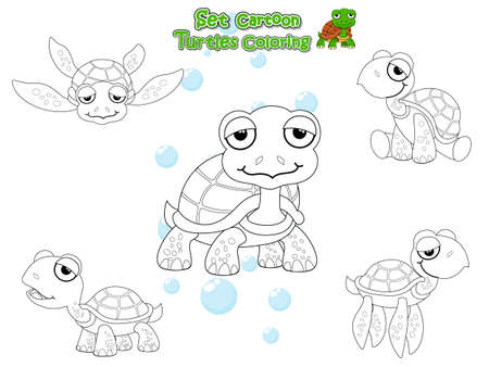 Coloring the Cute Turtles Cartoon Set. Educational Game for Kids. Vector illustration With Cartoon Happy Animal Фото со стока - 139632020