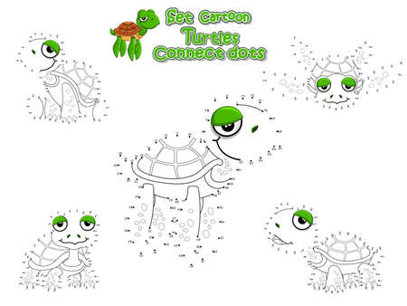 Drawing and Paint Cute Turtles Cartoon Set. Educational Game for Kids. Vector illustration With Cartoon Happy Animal Иллюстрация