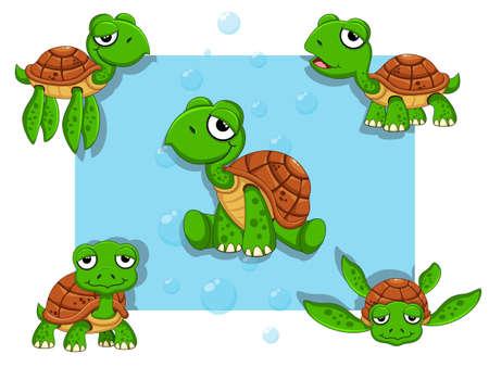 Cute Turtles Cartoon Characters Set. Vector illustration With Cartoon Happy Animal Ilustração