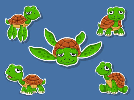 Cute Turtles Cartoon Sticker Set. Vector Illustration With Cartoon Happy Animal