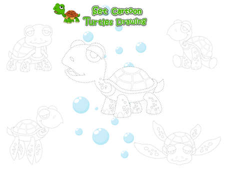 Drawing and Paint Cute Turtles Cartoon Set. Educational Game for Kids. Vector illustration With Cartoon Happy Animal Ilustração