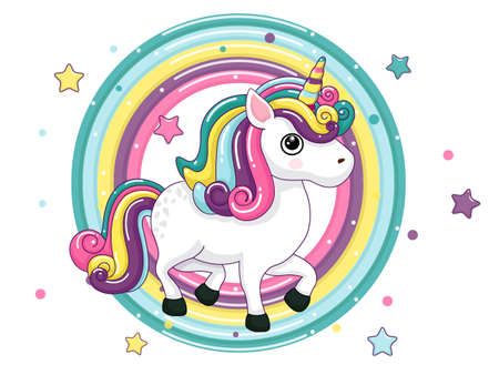 Cute Cartoon Unicorn Characters. Star and rainbow colorful. Vector art illustration with happy animal cartoon