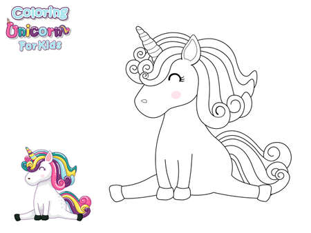 Coloring The Cute Cartoon Unicorn. Educational Game for Kids. Vector Illustration With Cartoon Animal Characters Фото со стока - 139893922