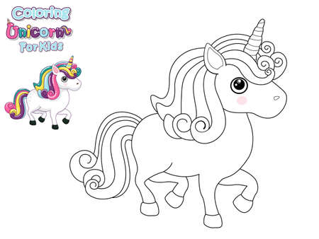 Coloring The Cute Cartoon Unicorn. Educational Game for Kids. Vector Illustration With Cartoon Animal Characters Иллюстрация