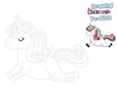 Drawing and Paint Cute Cartoon Unicorn. Educational Game for Kids. Vector Illustration With Cartoon Animal Characters