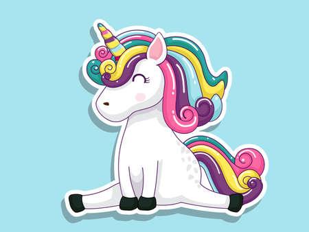 Cute Cartoon Unicorn Sticker. Vector art illustration with happy animal cartoon characters