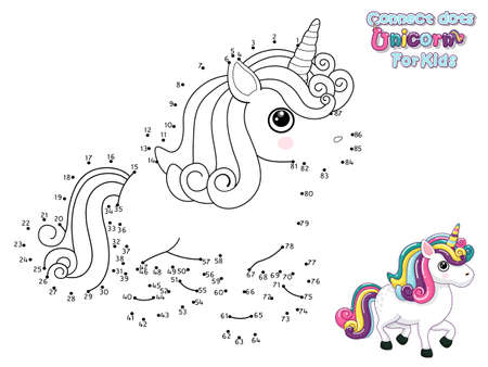 Connect The Dots and Draw Cute Cartoon Unicorn. Educational Game for Kids. Vector Illustration With Cartoon Animal Characters Ilustração
