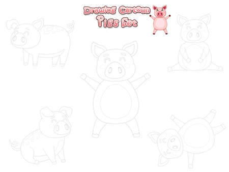 Drawing and Paint Cute Pigs Cartoon Set. Educational Game for Kids. Vector illustration With Cartoon Happy Animal farm Illustration