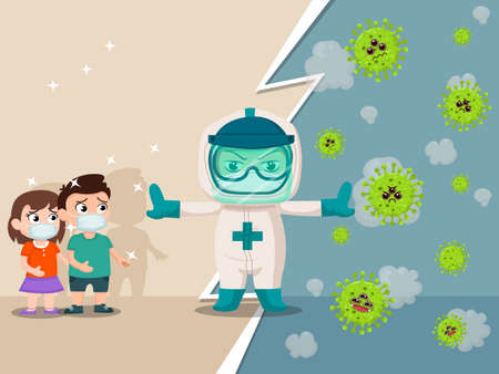 Cartoon character with professional doctors wearing protective Stop viruses that will come near children. Vector illustrations