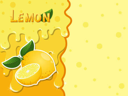 Lemon fruit melted flowing consisting of dark tasty sweet liquid. Abstract background. Copy space for text. Vector illustration