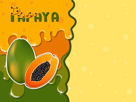 Papaya fruit melted flowing consisting of dark tasty sweet liquid. Abstract background. Copy space for text. Vector illustration