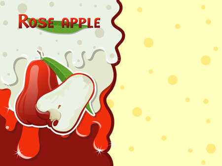 Rose apple fruit melted flowing consisting of dark tasty sweet liquid. Abstract background. Copy space for text. Vector illustration