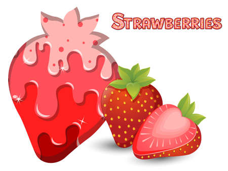 Strawberries fruit silhouette template melted flowing consisting of dark tasty sweet liquid. Abstract background. Vector illustration 矢量图像