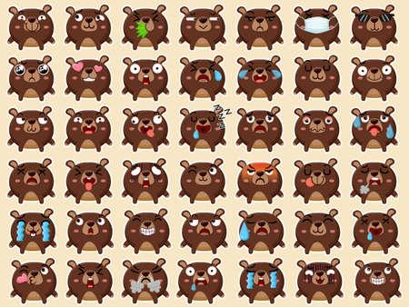 Cartoon emoji bears set icons of emoticons. Cartoon animal characters flat style. Symbols digital chat objects. Vector illustration 矢量图像