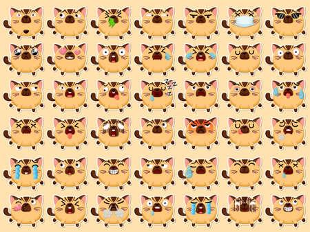 Cartoon emoji cats set icons stickers emoticons. Cartoon animal characters different emotions. Symbols digital chat objects. Vector illustration 矢量图像