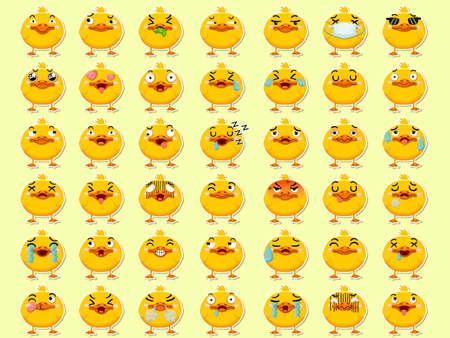 Cartoon emoji ducks set icons stickers emoticons. Cartoon animal characters different emotions. Symbols digital chat objects. Vector illustration