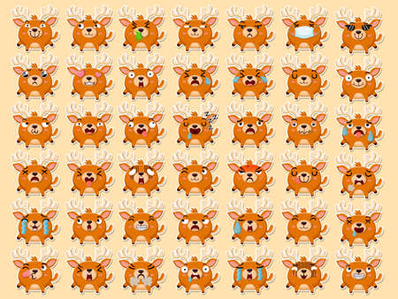 Cartoon emoji pigs set icons stickers emoticons. Cartoon animal characters different emotions. Symbols digital chat objects. Vector illustration