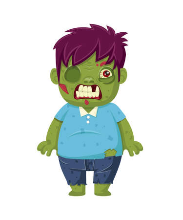 Cartoon zombie isolated on white. Character zombie halloween day. Vector and Illustration art clipart