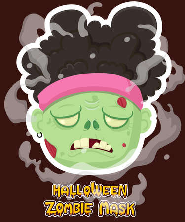 Halloween zombie mask vector design. Vector clip art illustration with simple gradient. Cartoon zombie head emotion