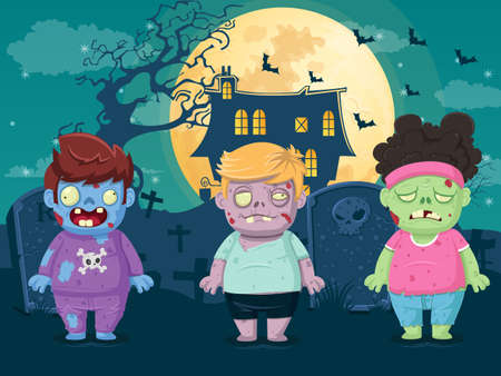 Vector illustration of halloween on moon night background with zombies. Illustration used for kid and children's holiday design, cards, banner