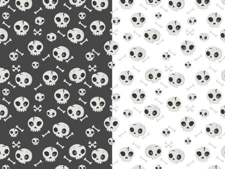 Halloween seamless pattern with cartoon skulls. Halloween illustration. Pattern for wallpaper paper, textile, game, web design, background. 矢量图像