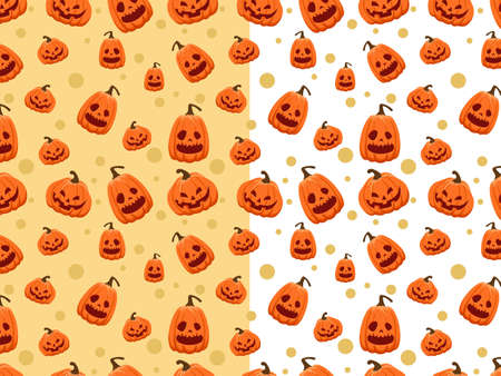Halloween seamless pattern with cartoon pumpkins. Halloween illustration. Pattern for wallpaper paper, textile, game, web design, background.