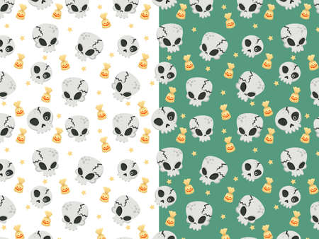Halloween seamless pattern with cartoon skulls. Halloween illustration. Pattern for wallpaper paper, textile, game, web design, background. 일러스트