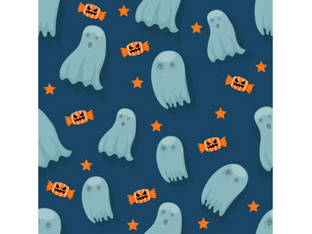 Halloween seamless pattern ghosts. Cartoon characters halloween illustration. Vector pattern for paper background vector 矢量图像