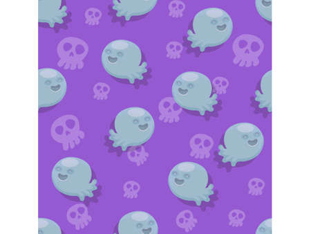 Halloween seamless pattern ghosts. Cartoon characters halloween illustration. Vector pattern for paper background vector 일러스트
