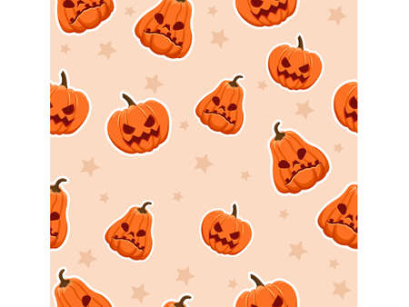 Halloween seamless pattern pumpkins. Cartoon characters halloween illustration. Vector pattern for paper background vector 矢量图像