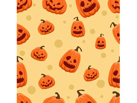 Halloween seamless pattern pumpkins. Cartoon characters halloween illustration. Vector pattern for paper background vector 일러스트