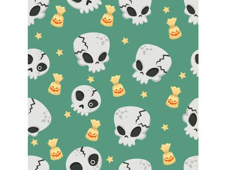 Halloween seamless pattern skulls. Cartoon characters halloween illustration. Vector pattern for paper background vector