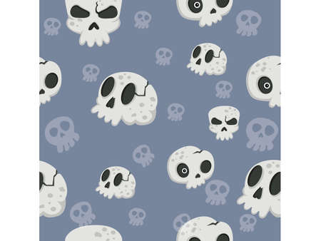 Halloween seamless pattern skulls. Cartoon characters halloween illustration. Vector pattern for paper background vector