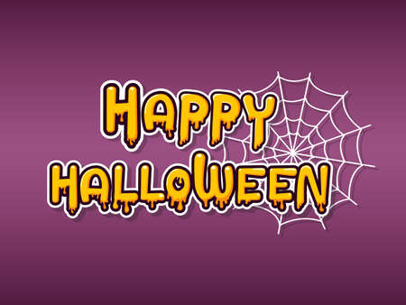 Happy halloween horizontal banner with lettering yellow-orange adn Spider web on a Purple background.  Vector Illustration