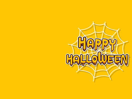 Happy halloween horizontal banner with lettering yellow-orange adn Spider web on a yellow-orange background.  Vector Illustration Stock Illustratie