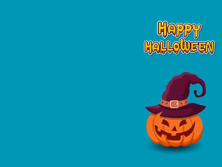 Happy Halloween horizontal banner with lettering yellow-orange and with pumpkin on a blue 일러스트