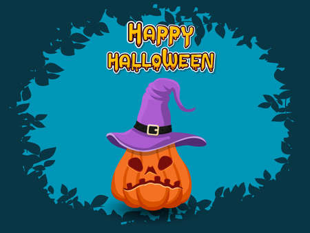 Happy Halloween horizontal banner with lettering yellow-orange and with pumpkin on a blue 矢量图像