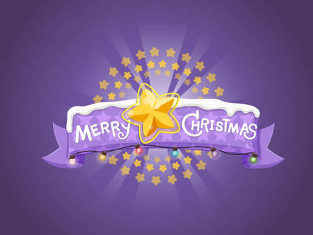 Merry Christmas greeting card. Star shape background design elements. Vector illustration