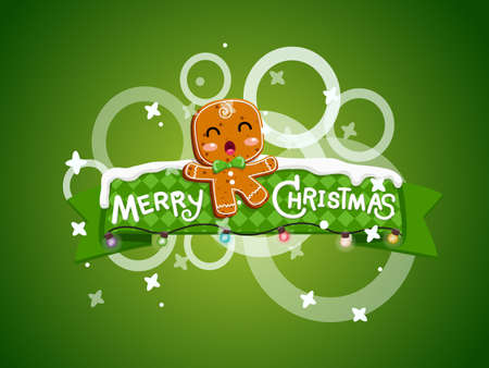 Merry Christmas greeting card. Gingerbread man cookies background design elements. Vector illustration