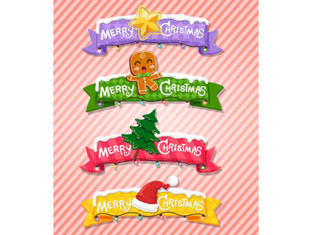 Merry Christmas and Happy New Year greeting card. Set of ribbons, labels background design elements. Vector illustration