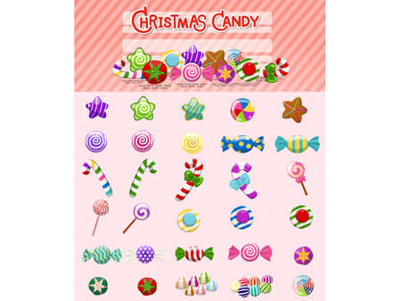 Christmas candies set. candy and sweets lollipop. Collection of different cartoon style candies. Vector illustration