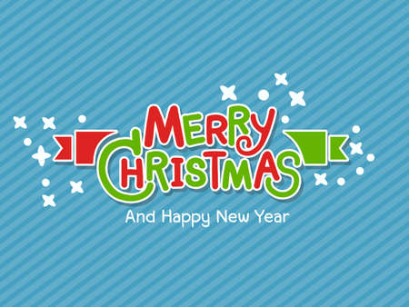 Merry Christmas vector text designs. Vector logo, typography. Greeting card, usable as banner. Vector illustration