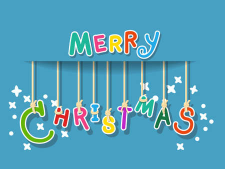 Merry Christmas Colorful text design ideas. Vector logo, typography. Greeting card, usable as banner. Vector illustration